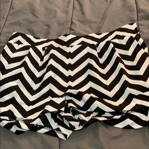 Black and White Chevron Fabric Shorts